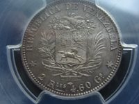 very scarce Venezuela 2 Reales 1858 PCGS MS64 ( #A12 )