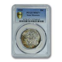 STONE MOUNTAIN 1925 50C Silver Commemorative PCGS MS67+ PLUS TONER PQ