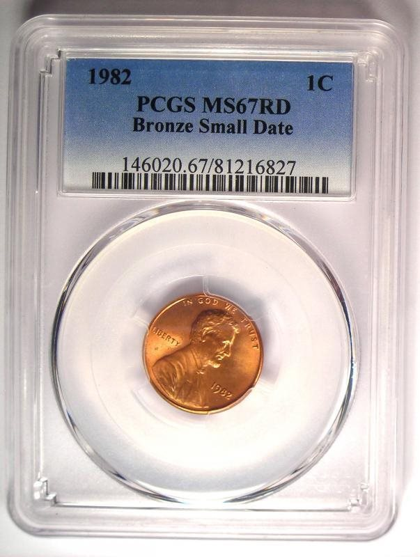 1982 Lincoln Cent Penny (Bronze, Small Date) 1C - PCGS MS67 RD