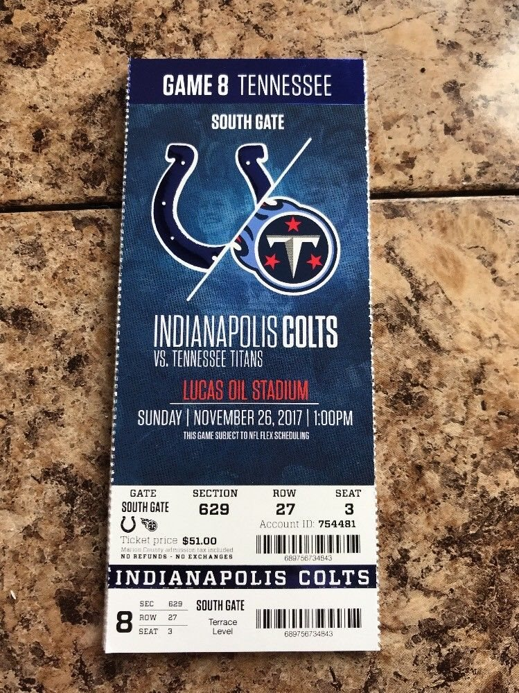 2017 INDIANAPOLIS COLTS VS TENNESSEE TITANS NFL TICKET