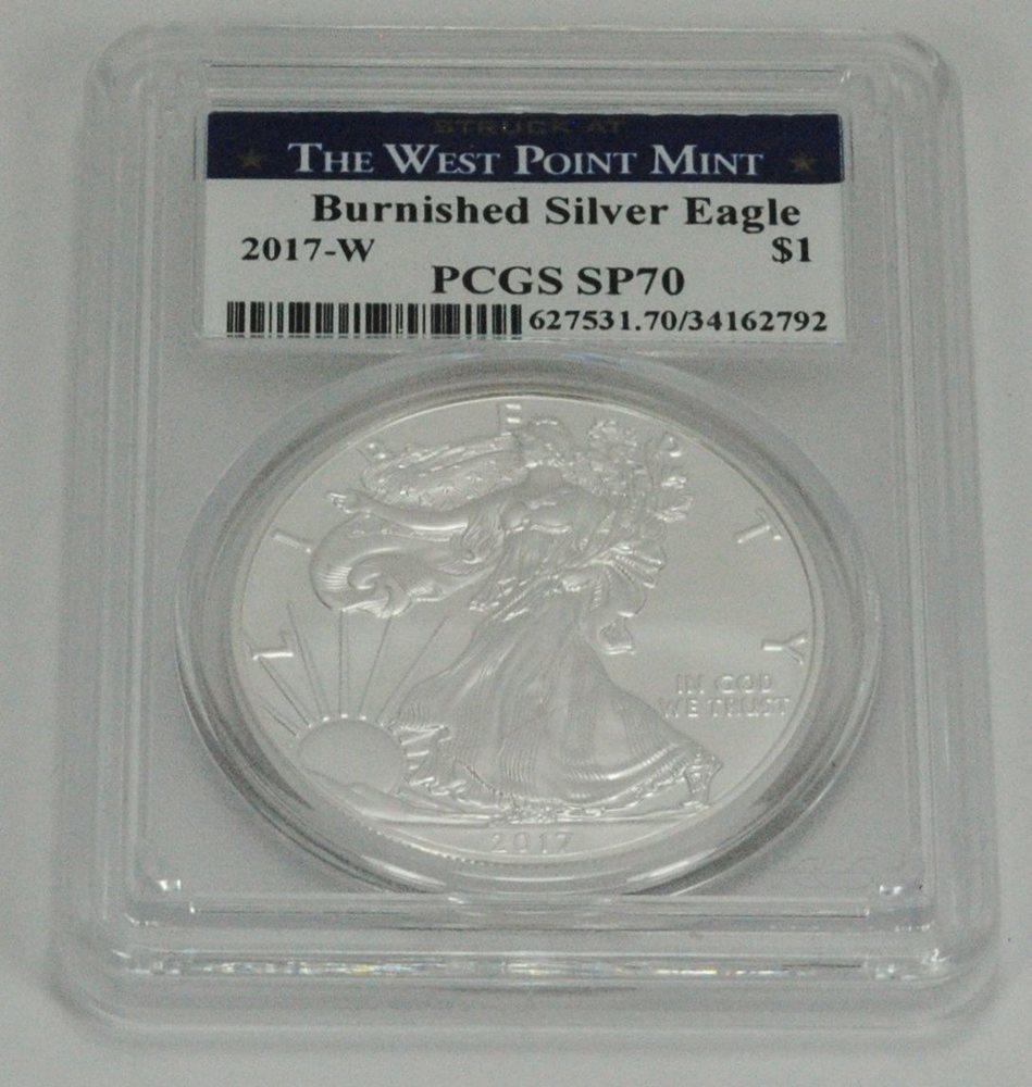 2019-W Burnished $1 American Silver Eagle PCGS SP70 FS Flag Frame
