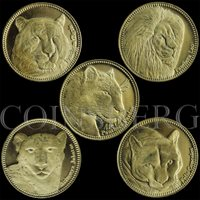 Somaliland set of 5 coins fauna lion tiger panthera guepard 2016