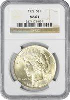 1922-P Peace Dollar, MS63, NGC