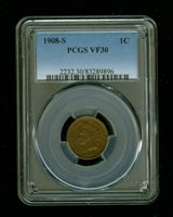 1908-S Indian Head Penny/Cent 1C PCGS VF 30 Type 3, Bronze