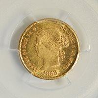 Philippines, 1868, 2 Peso, MS62 PCGS