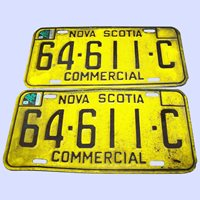 A Vintage Set of Metalware Nova Scotia License Plates Matching Commercial Pair