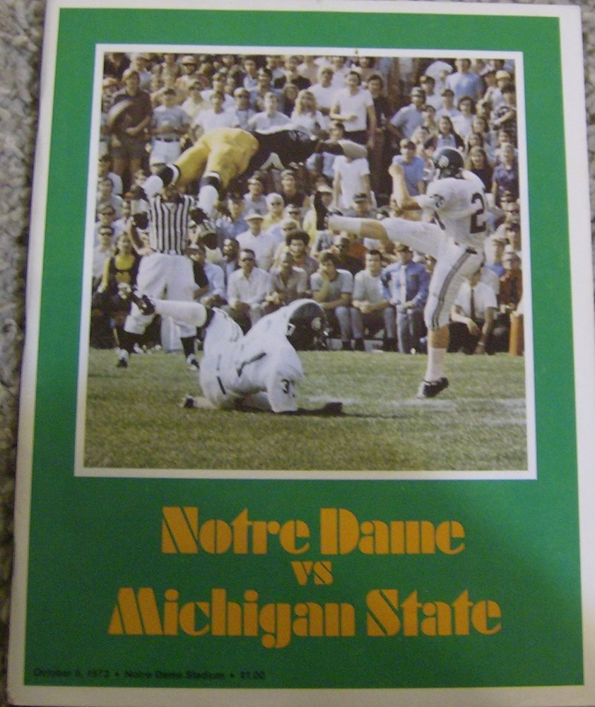 Vintage Notre Dame vs Michigan State Football Game Prog