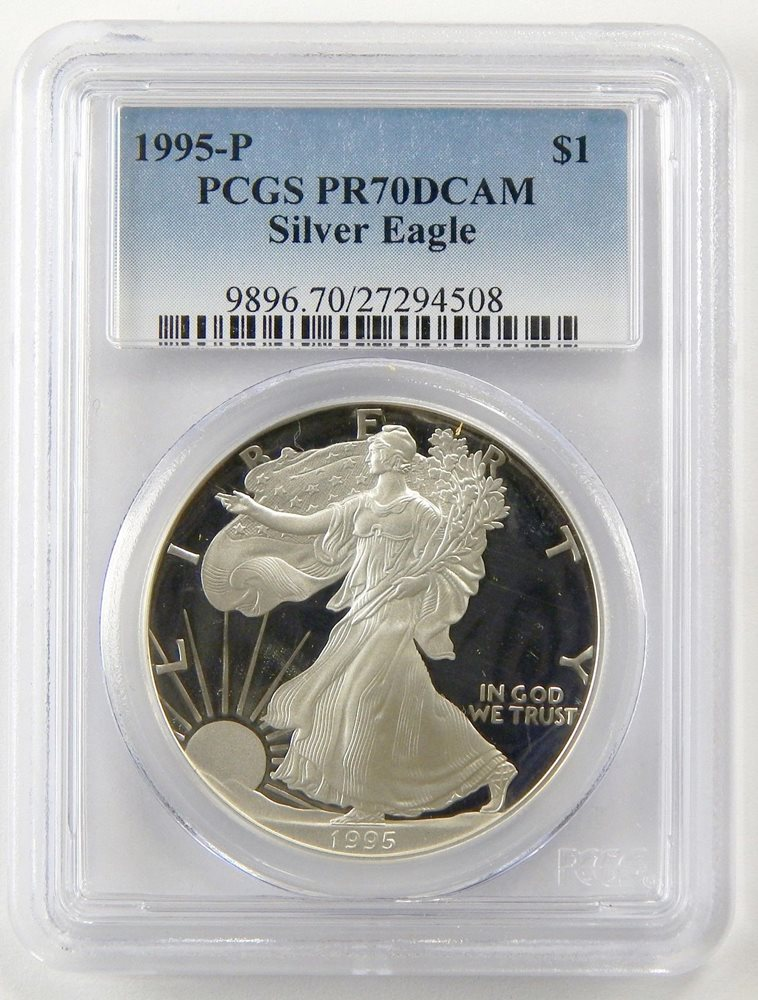 2004-W $1 1 oz Proof Silver Eagle PR70 PCGS Thomas Cleveland Blue Eagle *Pop 2*