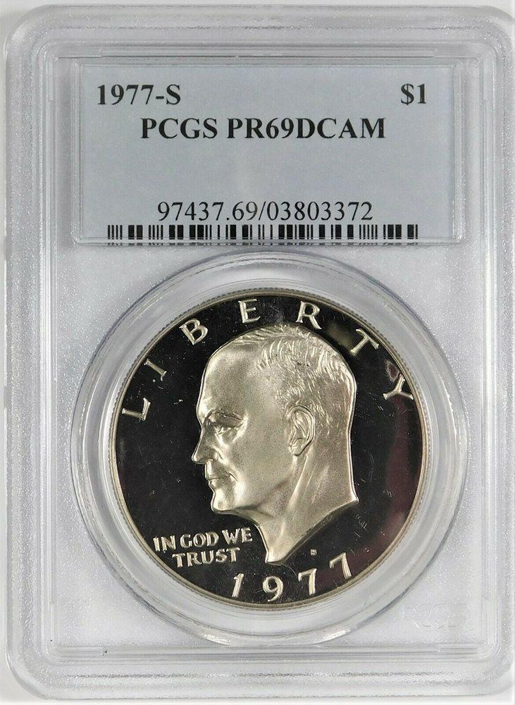 1977-S Clad Eisenhower Ike Dollar PR69DCAM PCGS Proof 69 Deep Cameo