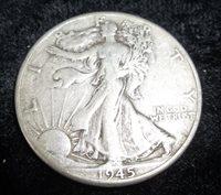 1945d Walking Liberty Half, VF-35, 1945d Half Dollar, 1945d Silver Half Dollar, Old half dollar, old coin, old money, epsteam