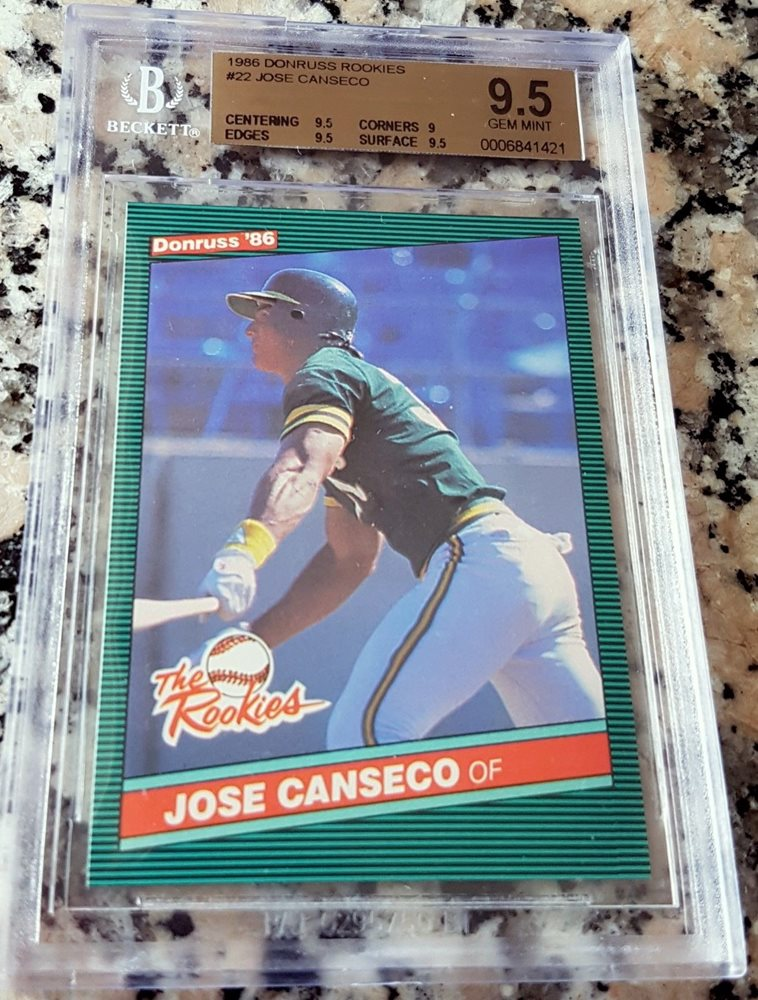 Jose Canseco 1986 Donruss Rookies Rookie Card Rc Bgs 95 Gem Mint As 40 40 Man