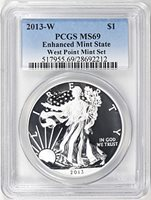 2013-W $1 Silver Eagle West Point Mint Set. Reverse Proof & Enhanced Finish PCGS MS-69/Proof-69 (2 Coins)
