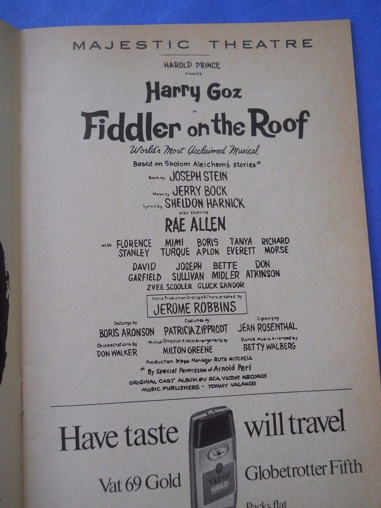 September 1968 - Majestic Theatre Playbill - Fiddler On The Roof - Rae Allen