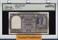 10 Rupees 1943 India Reserve Bank King George Vi Lcg 66 Ppq Gem New!