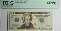 US $20 FEDERAL RESERVE NOTE (2009) PCGS Very Choice New 64PPQ Low Serial #772
