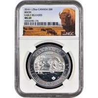2016 1.25 oz $8 Silver Canadian Bison Coin NGC MS69 ER
