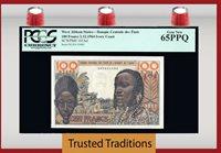 100 Francs 1964 West African States Ivory Coast Pcgs 65 Ppq Gem