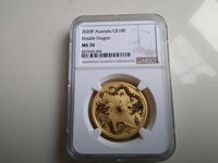 2020 Australia 1 oz $100 GOLD Double Dragon NGC MS70 - Perth Mint Population 26