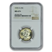 1935-S 25C Washington Quarter NGC MS67+ PQ TONER TOP POP ZERO FINER