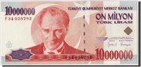 10,000,000 Lira L 1970(1999) Türkei Banknote, Undated, Km:214