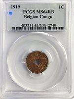 BELGIAN CONGO 1919 1 Centime - PCGS MS64RB