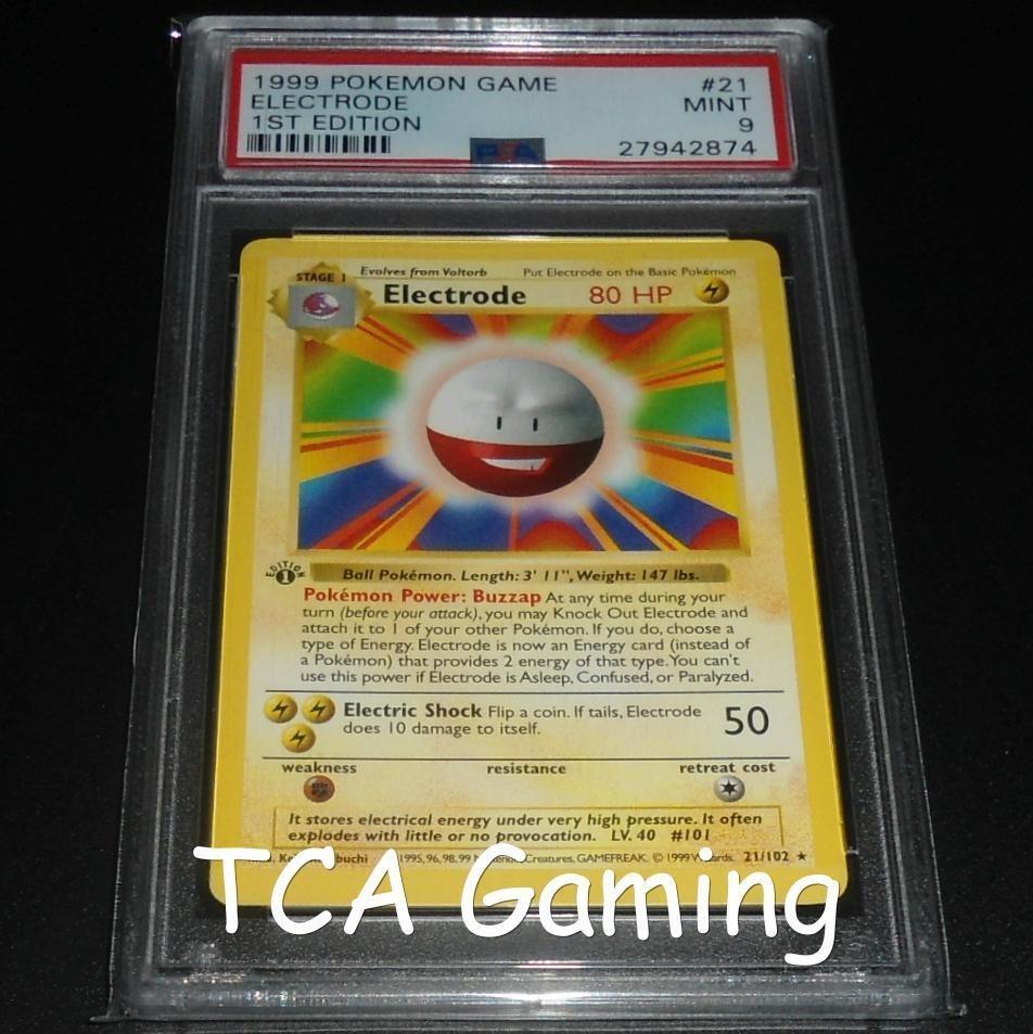 PSA 9 MINT Electrode 1st Edition Base Shadowless RARE 21//102 Pokemon 1999