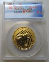 2014 Canada $200 1 oz. Gold Howling Wolf ANACS MS70 - RCM - .99999 fine gold