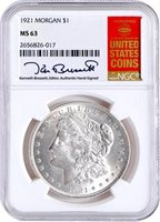 1921 Morgan Dollar 1922 Peace Dollar NGC MS63 Kenneth Bressett Signatures