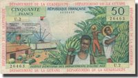 50 Francs 1964 French Antilles Banknote, Km:9b