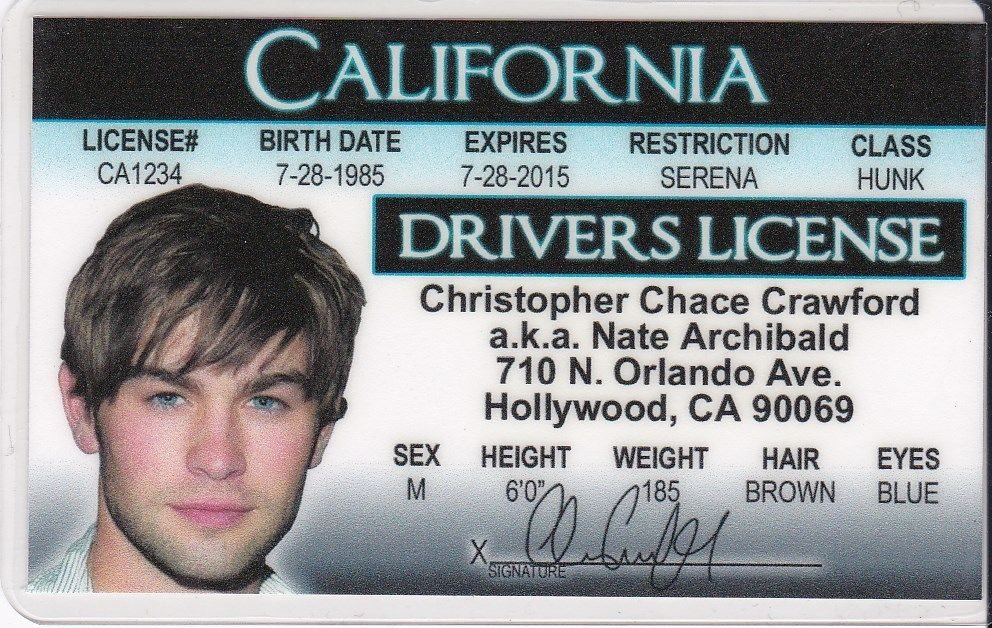 Drivers C d I California - License Fake Crawford Chace