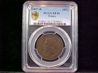 France 1857-B 10 Centimes KM#771.2 PCGS XF-45 Strong Detail