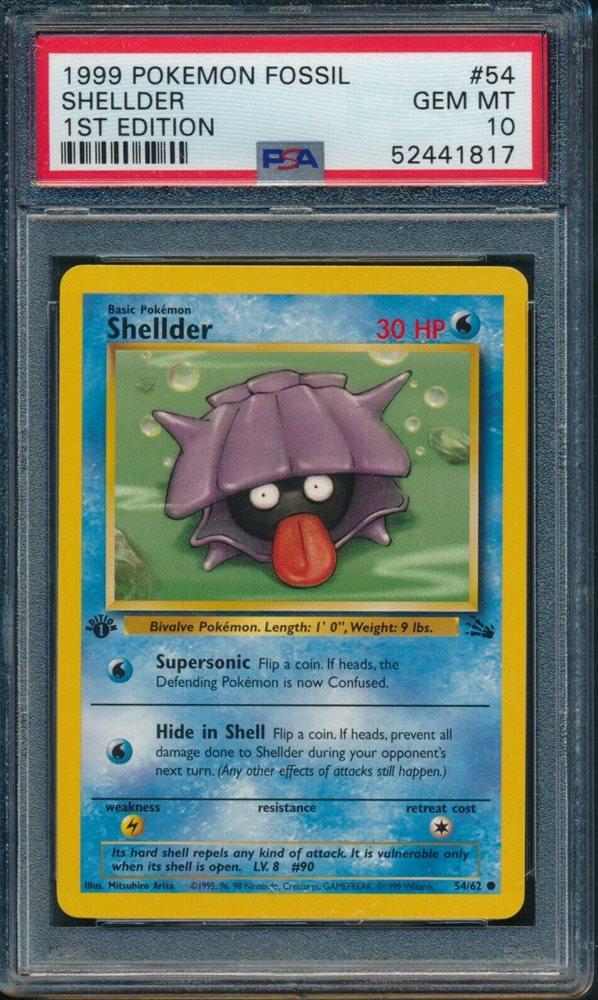 1999 Pokemon Fossill 1st Edition Shellder PSA 10 #54