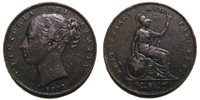 UK 1853 Victoria Farthing, W. W. incuse and 53 over lower 53