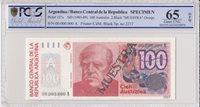 Argentinien 100 Australes 1985 Specimen Pcgs 65 Opq P 327
