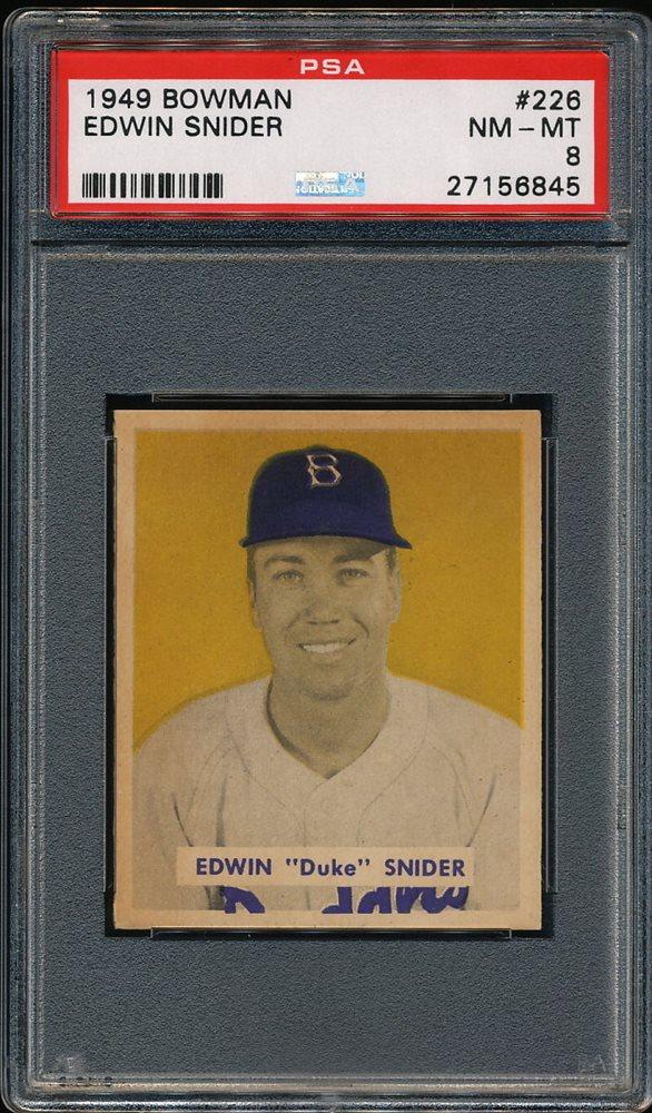 Duke Snider 1949 Bowman Dodgers Rookie Card 226 Psa 8
