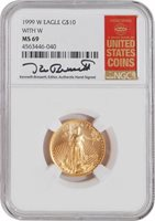 1999 W $10 Gold Eagle w/Unfinished Dies NGC MS69 Kenneth Bressett Signature