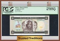 1 Nakfa 1997 Eritrea Bank Of Eritrea Pcgs 67 Ppq Superb Top Population