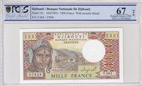 Dschibuti 1000 Francs Trains Camels 1991 Pcgs 67 Opq