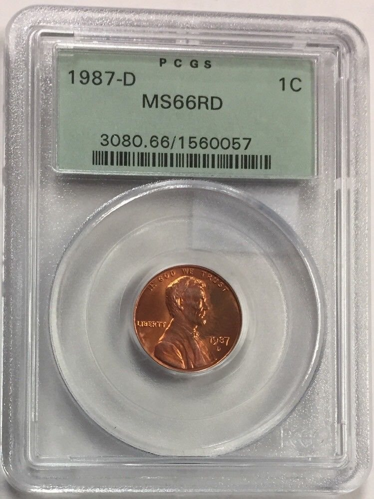 1987 D ~ MS 66 RD ~ Lincoln Penny ~ PCGS Graded 1C ~ Cent