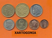 GREECE COINS, COMPLETE SET OF 1994, 1,2,5,10,20,50,100 DRACHMAS, VG-F