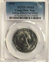 CONGO 1965 10 Franc LION, w/new PCGS attribution, MS65, Circulation Strike