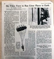 JUNE 1923 MAGAZINE PG #L182- SKY POLICE FORCE TO RUN CRIME PLANES TO EARTH