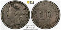 1883-H Straits Settlements 10 Cents PCGS VF KEY DATE