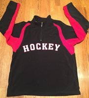 HOCKEY Fleece Black 1/4 ZIP Warmup Sweater Pullover Sz L/XL NHL Stanley Cup