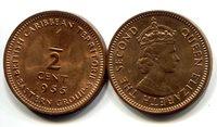 "British Caribbean Territories 1/2 Cent 1955 New (CU)Other Caribbean Islands Currency Queen Elizabeth IICoin 3/4\"" Diameter"