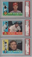 1960 TOPPS COKER CROWE WHISENANT 419 438 424 3-CARD LOT EX MINT PSA 6