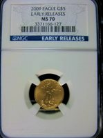 2009 US $5 GOLD EAGLE NGC EARLY RELEASE NGC MS70