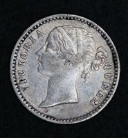 1840 VICTORIA - 1/4 QUARTER RUPEE - VF - SPLIT LEGEND