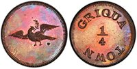 "SOUTH AFRICA. Griquatown. (1815-16) CU Pattern 1/4 Penny. PCGS PR62RB (Red-Brown). KM X-Tn1; Hern-GT4.Designed by Thomas Halliday for the London Mission Society, whose ""Dove"" emblem occupies the obverse, each variety undated, and exact time of man"