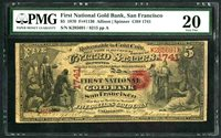 $5 1870 National Gold Bank Note Fr.1136 San Francisco # 1741 PMG VF 20 Original